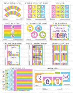 Printable DIY Care Bears Theme Personalized Happy Birthday SMALL Party Package