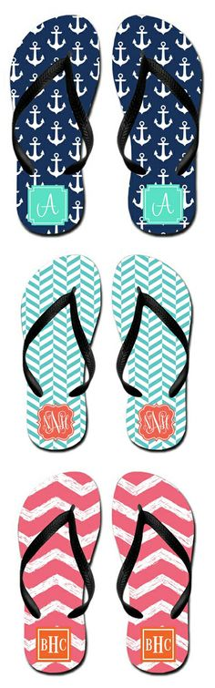 Cute and Customizable Monogram Flip Flops! Cute for a Gift or for a Wedding!