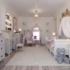 детская комната для девочки: интерьер, квартира, дом, детская комната, неоклассика, 30 - 50 м2 #interiordesign #apartment #house #nursery #neoclassicism #30_50m2 arXip.com