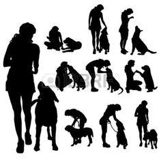 chien dressage: Vector silhouette d'une femme avec un chien. Illustration