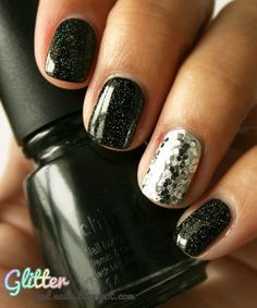 ChG Liquid Leather + ChG Fairy Dust.  For accent nail - Essie No Place Like Chrome + Milani Silver (2 coats)