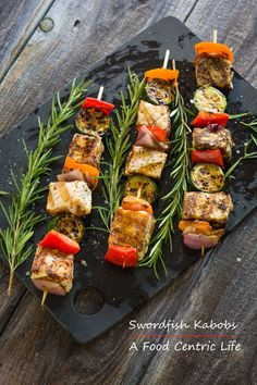 Easy grilled swordfish kabobs with vegetables. Swordfish is meaty ...
