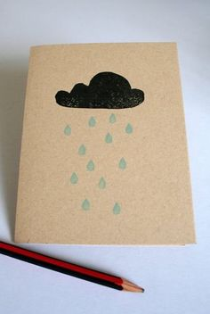 Greeting card Rainy Day recycled paper by BeetleCreative on Etsy