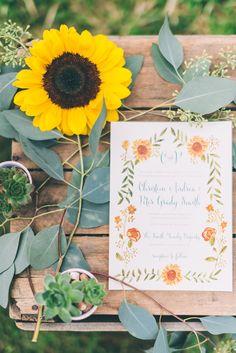 floral wedding invitations, photo by CJK Visuals http://ruffledblog.com/sunflower-field-wedding-inspiration #stationery #weddinginvitations