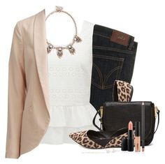 """""""Blazer, Statement necklace & Leopard flats"""" by steffiestaffie ❤ liked on Polyvore featuring D&G, Forever New, Sole Society, VILA, Charlotte Russe, Vince Camuto and J.Crew"""
