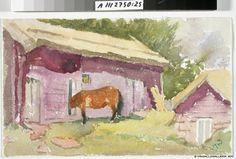 Maria Wiik Hevonen vajan vierellä - Horse alongside shed - Finland Female Painters, Finland, Pastel, Horses, Artist, Painting, Animals, Poland, Scandinavian Paintings