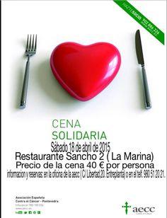 Mañana 18 de abril a las 21.30 en el SanchoDos LaMarina Cafeteria Restaurante cena a favor de aecc. Tras la cena se realizará un sorteo, ¡Gracias a los colaboradores de AECC, algunos de nuestros asistentes se iran mañana con regalito!