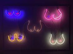 Neon boob wall by Teresa Escobar Neon Artwork, Neon Signs, Wall, Artist, Artists, Walls