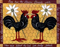 roosters and chickens painting books | TWO ROOSTERS FOLK ART PRINT