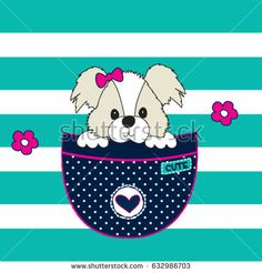 adorable dog in the pocket, cute dog cartoon, T-shirt graphics for kids vector illustration Cute Dogs, Cute Babies, Cute Dog Cartoon, Cute Tigers, Kids Vector, Felt Brooch, Cute Backgrounds, Applique Patterns, Pictures To Draw