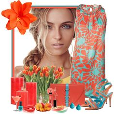 """Coral and Blue"" by scorpioncina86 on Polyvore"