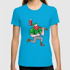 Paul Bunyan LumberJack Axe Kneeling Cartoon T-shirt. Illustration of a Paul Bunyan an American lumberjack sawyer forest holding an axe on shoulder kneeling with thumbs up set on isolated white background done in cartoon style. #illustration #PaulBunyanLumberJack