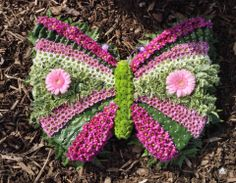 Butterfly by Sarah at Errismore Flowers Funeral Flower Arrangements, Funeral Flowers, Floral Arrangements, Wedding Flowers, Grave Decorations, Flower Decorations, Floral Foam, Art Floral, Casket Sprays