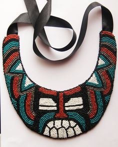Kolisnyk Bijou Polinesian beaded embroidery necklace etnic jewelry   Tiki mask maori hand made green black red white Ethno fshion by KolisnykBijou on Etsy