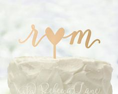 Cake Topper | Lowercase Initials | Heart | Calligraphy | Metallic | Glitter | Wood | Gold | Rose Gold | Custom