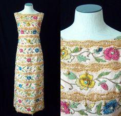 Pink Beaded Column Dress  Samuel Winston Roxane  by kimvintage