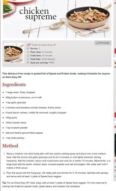 Slimming World Recipes- Chicjen supreme. Syn free meal ideas for cooking and the… Slimming World Recipes- Chicjen supreme. Syn free meal ideas for cooking and the family Slimming World Chicken Supreme, Slimming World Speed Food, Slimming World Free, Slimming World Dinners, Slimming World Chicken Recipes, Slimming World Recipes Syn Free, Slimming Eats, Healthy Eating Recipes, Cooking Recipes