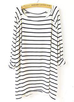 White Black Striped Loose T-Shirt 13.83