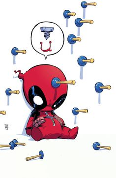 Baby Deadpool is having a bad day...