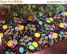 FALL SALE Table Runner Happy Birthday Celebration by MakeMeOver