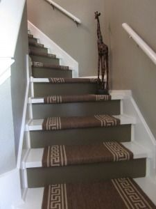 DIY painted stairs from ugly carpeted stairs.  Easy, cheap!