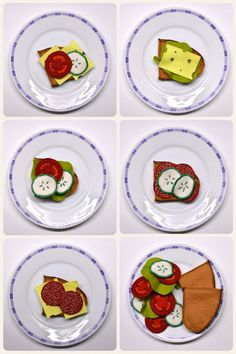 Kinderküche, Kaufmannsladen, Lebensmittel, Filz, Wollfilz, Basteln, Nähen, DIY, Selber, machen, Vesper, Brotzeit, Brot, Salami, Käse, Gurke,...