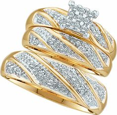 Three Piece Wedding Set 10K Two Tone Gold 0.30 cts. GD-46893 [GD-46893] - $379.99 : Diamonds, Engagement Rings, Wedding Bands, His and Hers Sets, America's Largest Engagement Ring and Wedding Band Distributor.