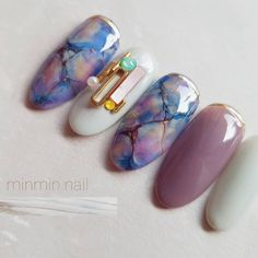 Simple Nail Art Designs That You Can Do Yourself – Your Beautiful Nails Marble Nail Designs, Marble Nail Art, Pretty Nail Designs, Nail Art Designs, Teal Nails, My Nails, Acrylic Nail Shapes, Acrylic Nails, Japan Nail