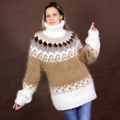 Light Brown and White Icelandic hand knit mohair sweater Extravagantza Icelandic Hand knitted mohair sweater turtleneck Light Brown and White color fuzzy and fluffy plain design by Extravagan. Mohair Sweater, Knit Sweater Dress, Knitting Charts, Hand Knitting, Knitting Ideas, Knitting Patterns, Pull Mohair, Handgestrickte Pullover, Icelandic Sweaters