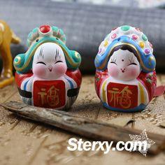 Sterxy Handmade Clay Set Beijing Rabbit God Figurine Chinese Tu'er Ye & Tu'er Nainai Clay Ornament Traditional Home Decor, Auspicious 'Fu' Clay Ornaments, Christmas Ornaments, Clay Set, Crafts For Kids, Arts And Crafts, Decor Room, Chinese Culture, Traditional House, Beijing