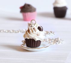Oreo chocolate cupcake necklace kawaii made of Polymer by Zoozim