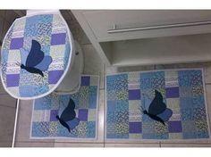 Resultado de imagem para jogos de banheiro em tecido com borboletas