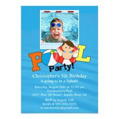 Summer POOL Party PHOTO Birthday Invitation Boy Invitations Photo