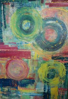 Bravo Fiona!! Colorful modern abstract art. Acrylic on canvas with gold metallic effects. Circles deep blue, pink, yellow, orange, turquoise, green. From painter Fiona Mares, living and painting in Egypt, Hurghada. https://www.facebook.com/FionaMaresGallery/