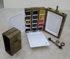 Brass Artists Watercolour Pocket Field Box 15 Winsor & Newton Half Pans << Saw this on ebay, it started at £14.50, over £170 now. A little charmer.