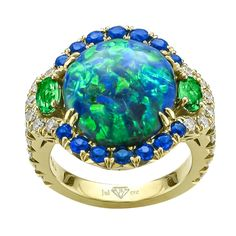 Juleve Black Opal, Diamond, Hauyne & Tsavorite Ring Gold and ...