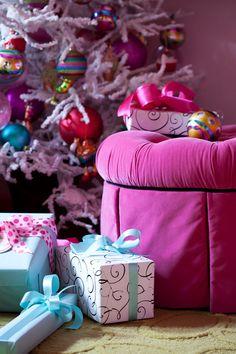 Suzy q, better decorating bible, blog, Christmas, holiday, décor, theme, pink, fuchsia, white tree, sock monkeys, bubble gum, blue, baby, gi...