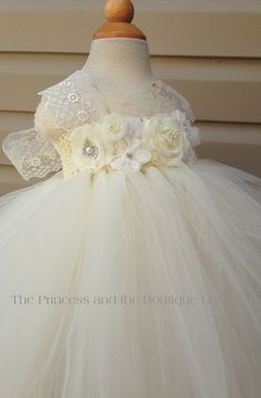 ivory and white flower girl dress with a by Theprincessandthebou