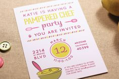 Pampered Chef Party Invitation for Kitchen supplies Printable Digital PDF file.