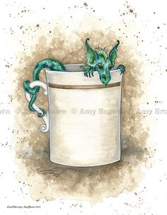 Good Morning dragon in coffee cup 85x11 print by by AmyBrownArt