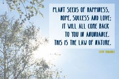 Plant seeds of happiness, hope, success and love...
