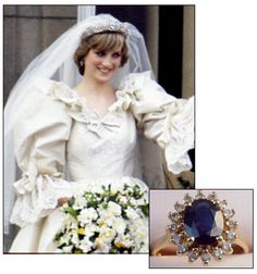 LADY DIANA SPENCER received this 12 carat oval sapphire surrounded by 14 diamonds set in 18K white gold in February 1981, when it was announced that she would marry Charles, Prince of Wales.