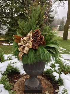 16 Festive Outdoor Decorating Ideas that Will Get You In The Holiday Spirit — Crazy Blonde Life Outdoor Christmas Planters, Christmas Urns, Christmas Flowers, Outdoor Christmas Decorations, Rustic Christmas, Winter Christmas, Christmas Holidays, Christmas Wreaths, Holiday Decor