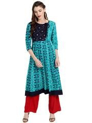 Firozi Color Cotton Readymade Party Wear Kurtis ( Sizes-36