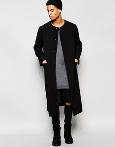 d8c3c65740eb9 Collarless Extreme Longline Duster Coat In Black