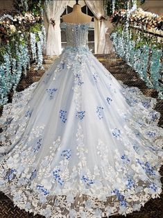 Blue wedding dress - Blue wedding dress Source by - Pretty Quinceanera Dresses, Cute Prom Dresses, Blue Wedding Dresses, Bridal Dresses, Wedding Gowns, Bridesmaid Dresses, Fantasy Gowns, Fairytale Dress, Ball Gown Dresses