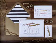gold and black striped liner invitation