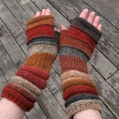 Brown Knit Fingerless Gloves as spring plowed fields. by dwarfs