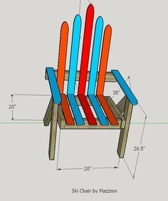 Build a Lawn Chair From Recycled Skis - the Ski Chair!: 4 Steps (with Pictures) makeover Outdoor lawn chairs Pub Chairs, Lawn Chairs, Outdoor Chairs, Tire Chairs, Restaurant Chairs, Outdoor Dining, Chair Makeover, Furniture Makeover, Ski Lift Chair