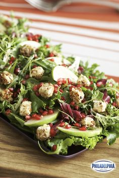 Warm cream cheese croutons are an easy way to add everyday elegance to any salad. Watch how simple they are to make in this video featuring our delicious mixed greens salad topped with pomegranates, apples, and fresh thyme.